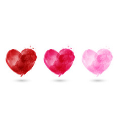 set hand painted watercolor hearts vector image
