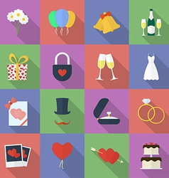Set of wedding icons Flat style vector image