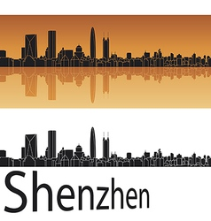 Shenzhen skyline in orange background vector image