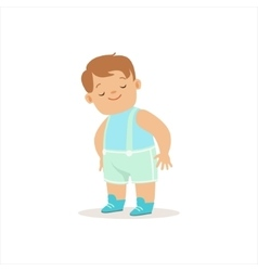 Sleepy Boy In Blue Standing Adorable Smiling Baby vector image