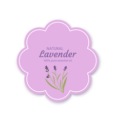 Sticker label frame with a lavender flower vector