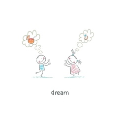 Two children dreaming vector