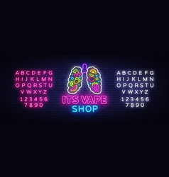 vape shop neon sign vaping store logo vector image