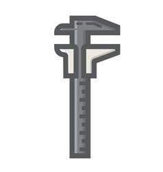 Vernier caliper filled outline icon build repair vector