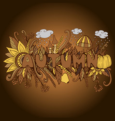 vintage autumn word with doodle elements pumpkin vector image