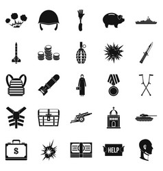 war crime icons set simple style vector image