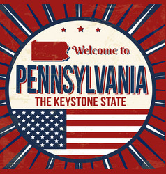 welcome to pennsylvania vintage grunge poster vector image