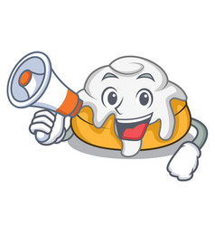 With megaphone cinnamon roll character cartoon vector