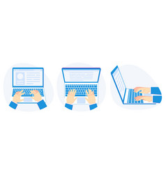 working on laptop hands on computer keyboard vector image