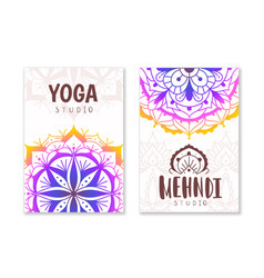 Yoga studio cards indian practices banner vector
