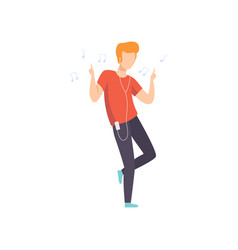 young man listening music and dancing guy vector image