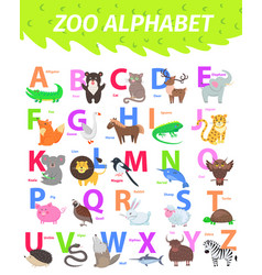 Zoo alphabet with cute animals cartoon flat vector
