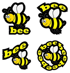 Bee icons vector image vector image