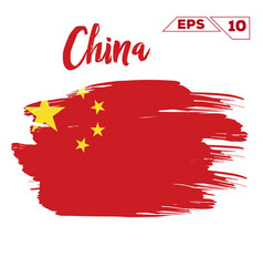 china flag brush strokes painted vector image