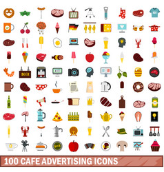 100 cafe advertising icons set flat style vector image