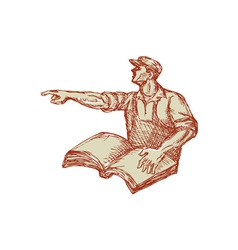 Activist Union Worker Pointing Book Drawing vector image vector image