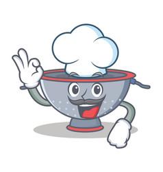 Chef colander utensil character cartoon vector