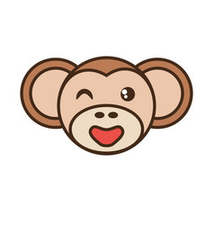 cute monkey face kawaii style vector image