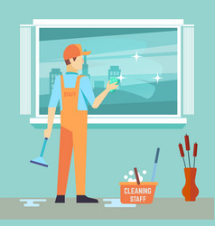 flat man washes window - cleaning man vector image
