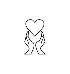 Heart with hands line icon healtcare sign vector