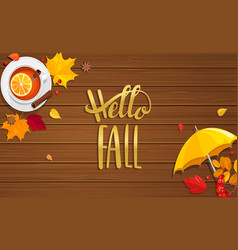 hello fall lettering on wooden background vector image vector image