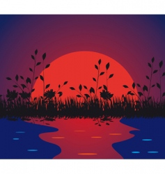 nature against the setting sun vector image