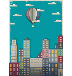 Town and air balloon vector image