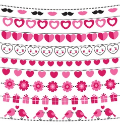 Valentine bunting flags set vector image vector image