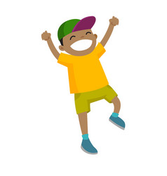 african-american boy jumping with raised hands up vector image vector image