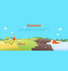 cartoon seasons landscape background card poster vector image vector image