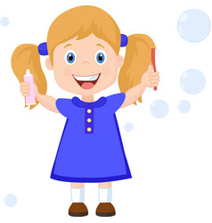 girl with toothbrush cartoon vector image