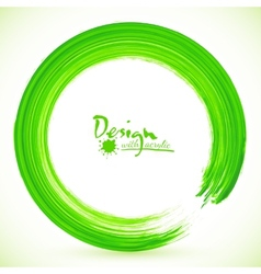 Green paintbrush circle frame vector image
