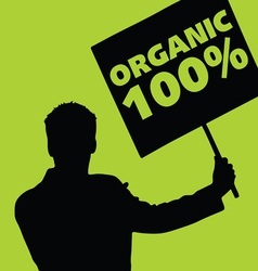 man with the slogan for organic vector image