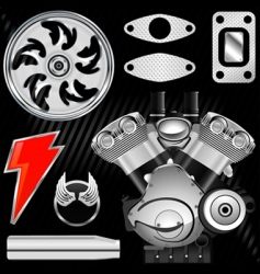motorcycle part set vector image