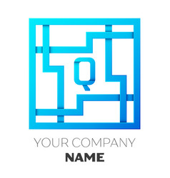 realistic letter q logo in colorful square maze vector image vector image