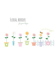 floral border with roses and chamomile in vector image vector image