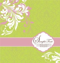 green with white floral elements vector image vector image