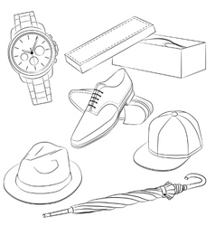 Set of fashion accessories and mens shoes vector image
