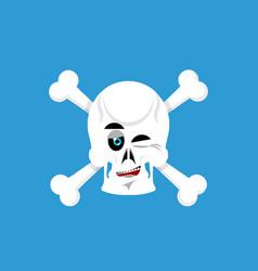 skull and crossbones winks emoji skeleton head vector image vector image