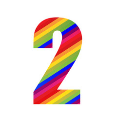 2 number rainbow style numeral digit colorful vector
