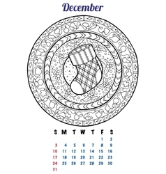 2017 december calendar planner design mandala vector