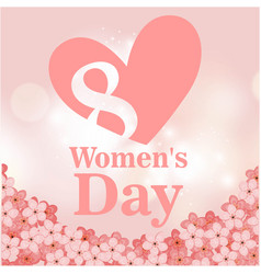 8 womens day pink heart flower pink background vec vector image