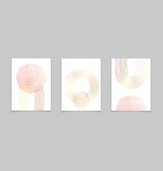 Abstract minimal posters with gold lines vector
