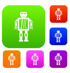 abstract robot set color collection vector image