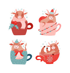 Baby cow or bull cute characters set symbol vector