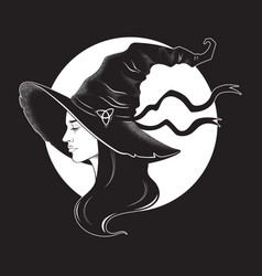 Beautiful brunette witch in pointy hat line art vector