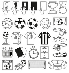 black and white soccer 28 elements set vector image