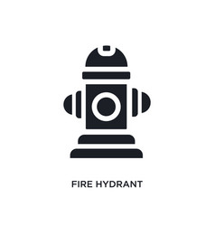 Black fire hydrant isolated icon simple element vector