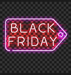 black friday price tag neon sign vector image