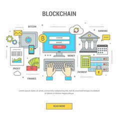 blockchain concept finance banner with bitcoins vector image